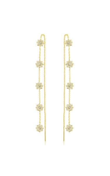 Star-Enameled 18K Yellow Gold Earrings