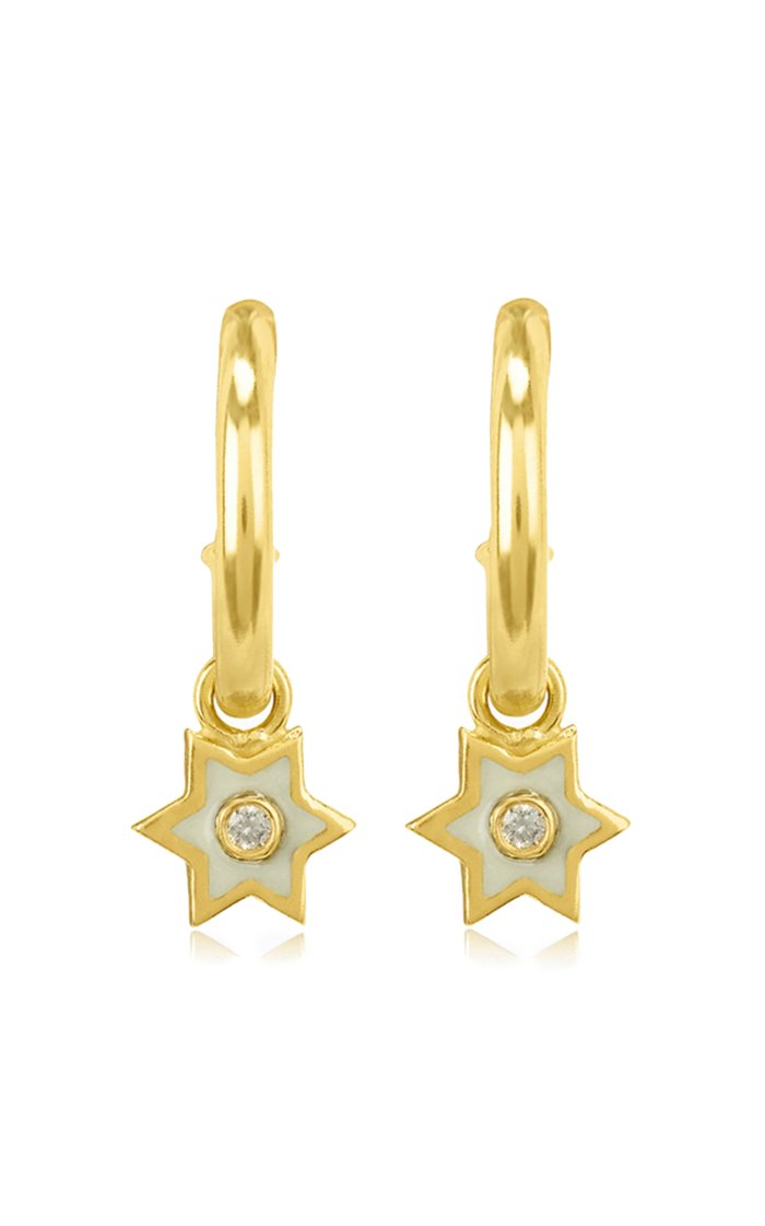 Mini 6 Sided Star 18K Yellow-Gold, Enamel and Diamond Hoop Earrings