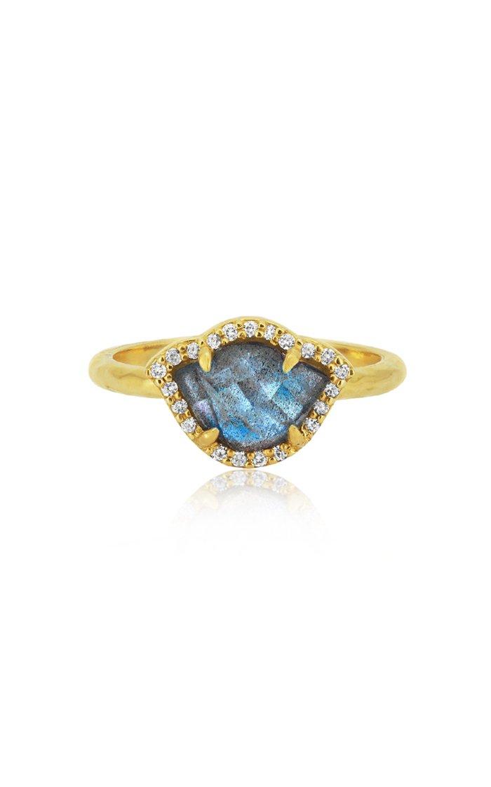 Nalika Lotus 18K Yellow-Gold, Labradorite, and Diamond Ring