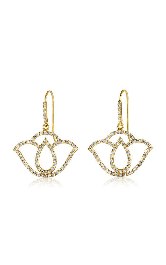Thamarai Lotus 18K Yellow Gold And Diamond Drop Earrings
