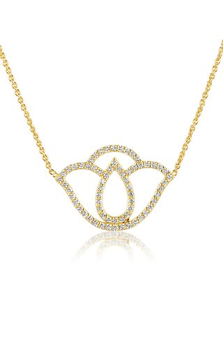 Thamarai Lotus 18k Yellow-Gold and Diamond Pendant