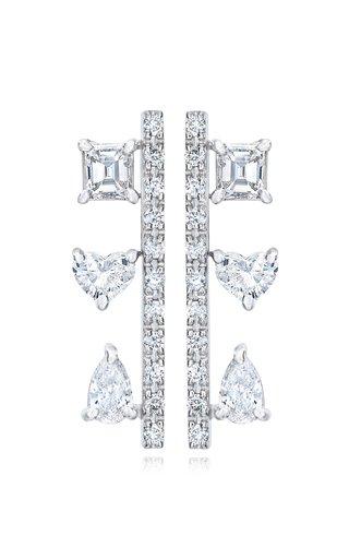 Fancy Cut Diamond 18K White Gold Bar Earrings