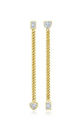 Fancy Cut Diamond 18K Yellow Gold Drop Earrings