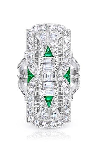 Diamond, Emerald Platinum Filigree Dinner Ring
