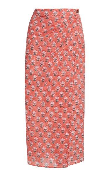 Rosetta Maxi Cotton Column Skirt