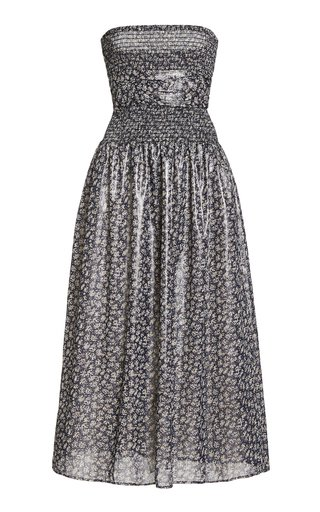 Gia Printed Lurex Strapless Midi Dress