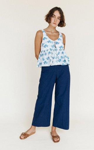 Rocco Sleeveless Blouse With Keyhole Ties