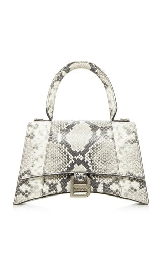 Hourglass S Snake-Effect Leather Bag
