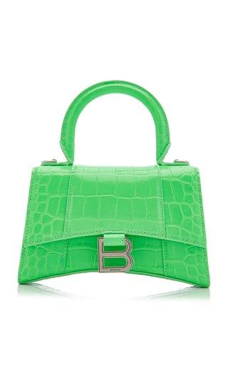 Hourglass XS Croc-Effect Leather Bag