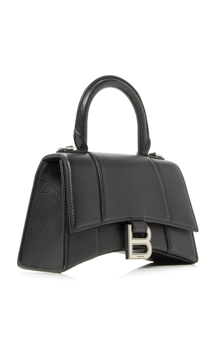 Hourglass XS Textured-Leather Bag