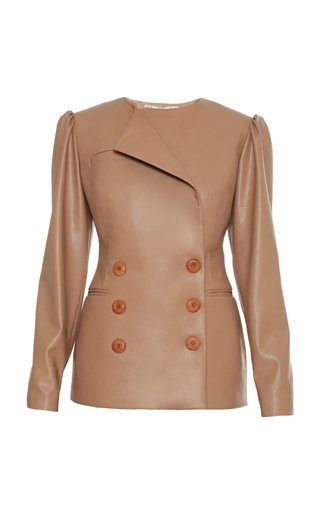 Double Breasted Vegan Leather Blazer