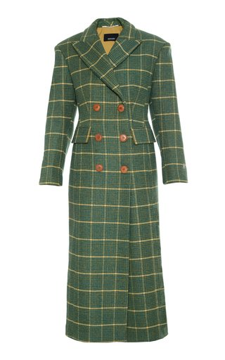 Double Breasted Slim Checkered Wool Coat