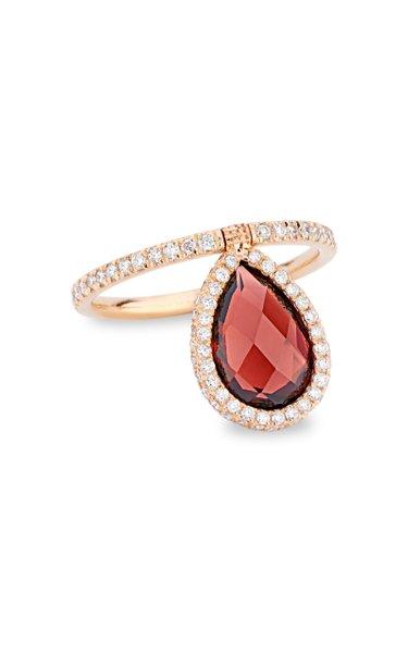 Medium 18k Rose-Gold Garnet and Diamond Flip Ring
