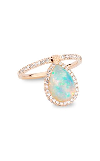 Medium 18k Rose-Gold, Opal and Diamond Flip Ring