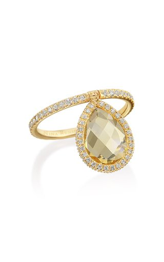 Medium 18k Yellow-Gold, Citrine and Diamond Flip Ring