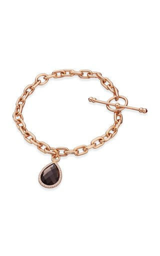 18K Rose Gold Multi-Stone Flip Charm Bracelet