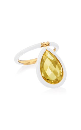 The Artist Yellow Citrine and White Enamel Large Ring