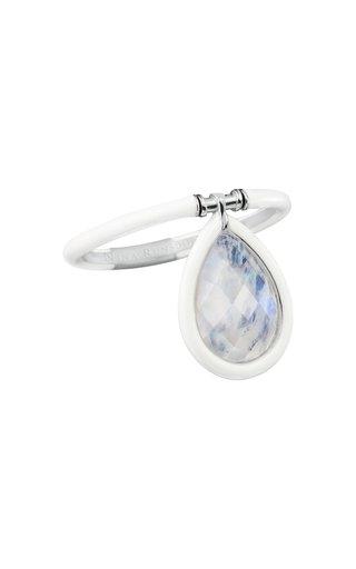 The Artist 18K White Gold, Moonstone and White Enamel Medium Ring