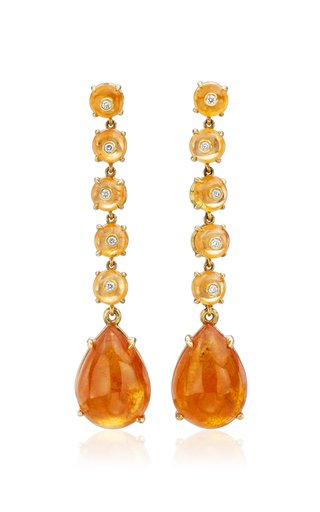18k Yellow-Gold, Spessartite Bead and Cabochon Drop Earrings