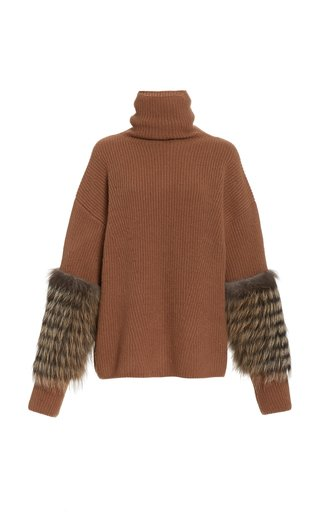 Fur-Trimmed Oversized Cashmere-Silk Turtleneck Sweater
