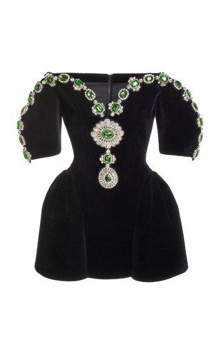 Specialorder-Embellished Velvet Off-The-Shoulder Dress-AP
