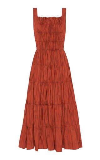 Unfold Pleated Printed Poplin Midi Bib Dress