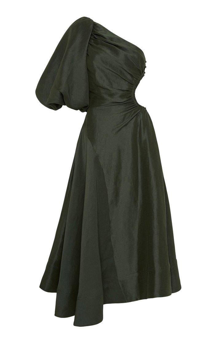 Concept Cutout Silk-Linen One-Shoulder Maxi Dress