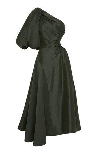 Concept Asymmetric Cutout Silk-Linen Maxi Dress