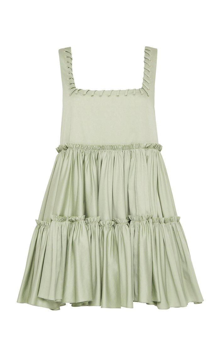 Hushed Braid-Detailed Cotton Mini Dress