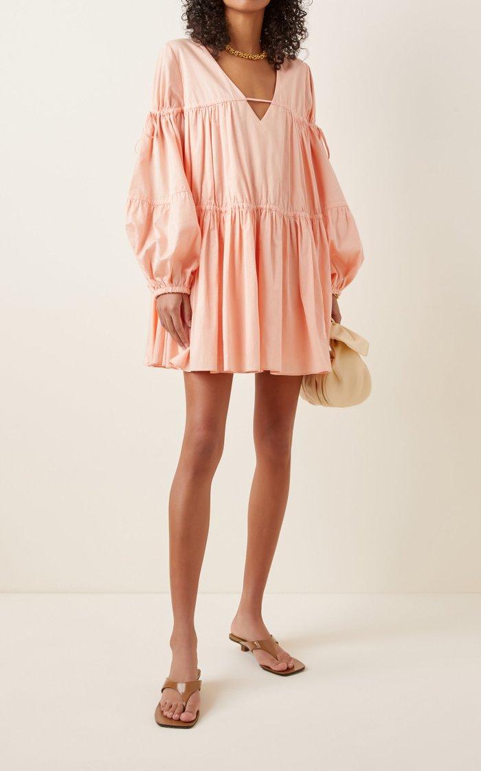 Overture Gathered Cotton Mini Dress