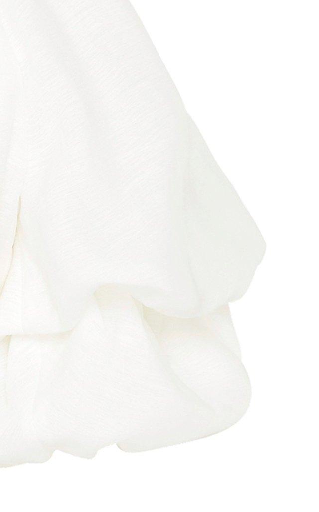 Impression Puff-Sleeve Plisse Crop Top