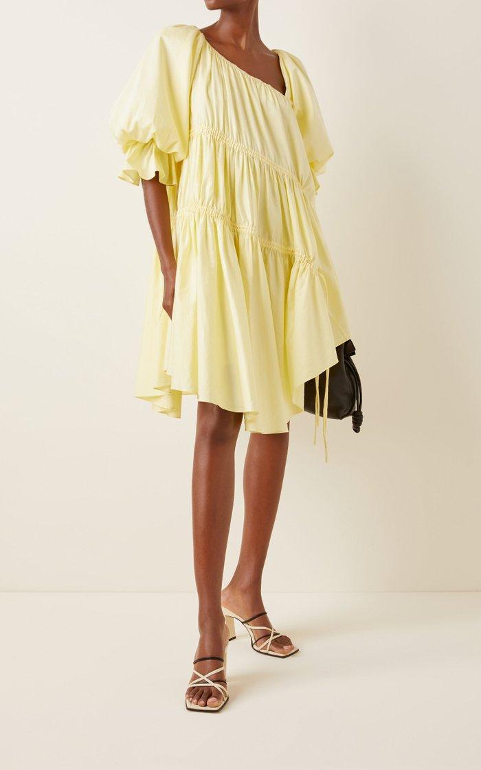 Ambience Tie-Detailed Cotton Asymmetric Mini Dress