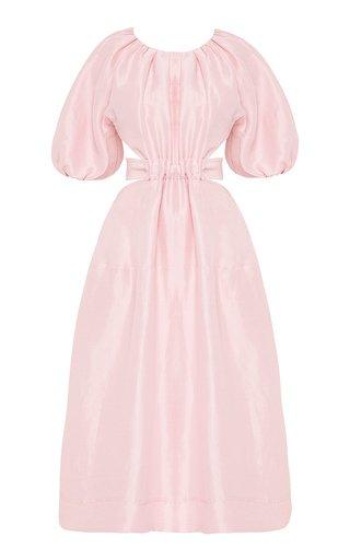 Mimosa Cutout Linen-Silk Midi Dress