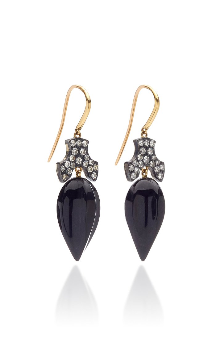 Black Jade and Diamond 18K Yellow Gold Acorn Earrings