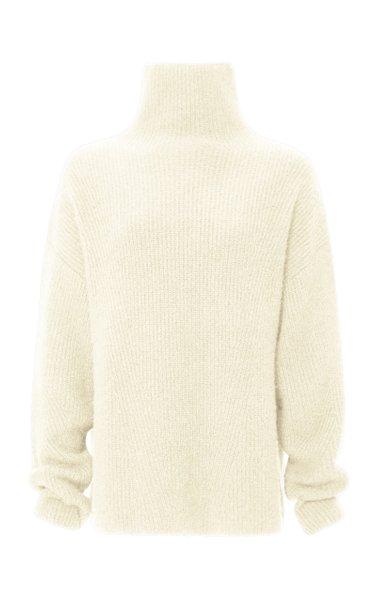 Oversized Ribbed-Knit Cashmere-Silk Turtleneck Sweater