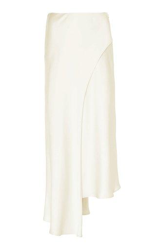 Asymmetric Double-Faced Satin Midi Skirt