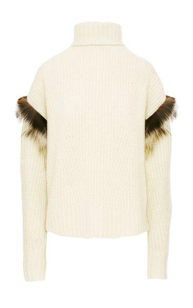 Fur-Trimmed Ribbed-Knit Cashmere-Silk Turtleneck Sweater