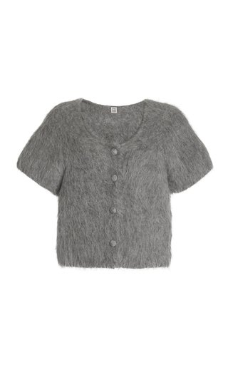 Cropped Alpaca Knit Cardigan