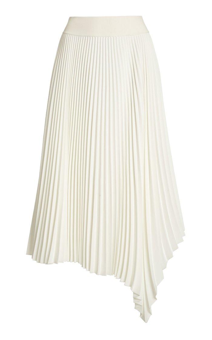 Swinton Asymmetric Pleated Midi Skirt