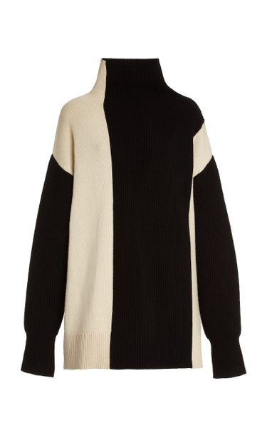 Oversized Colorblock Wool Mock-Neck Sweater