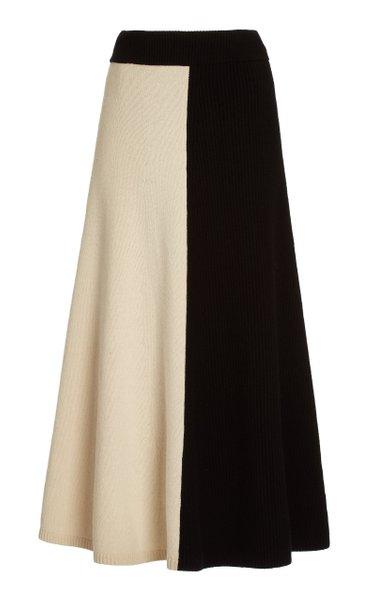 Colorblock Wool Maxi Skirt