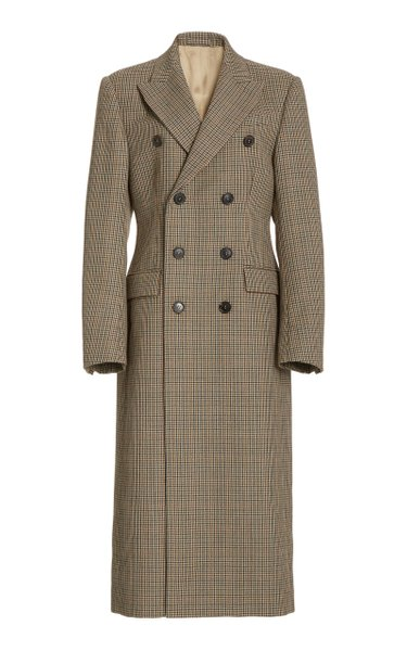 Houndstooth Wool Double-Breasted Coat