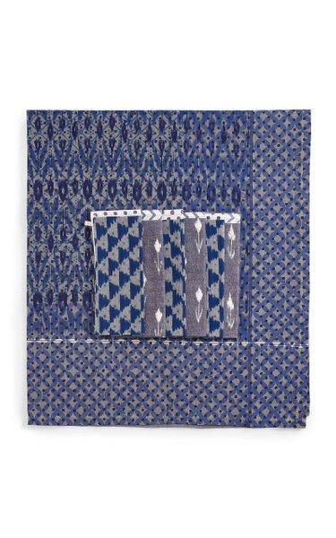 Set Of 6 Indigo Blueberry Mesh Napkins + Tablecloth
