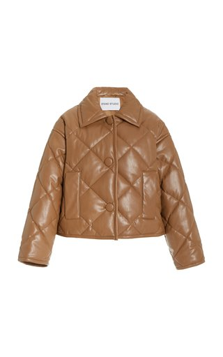 Jacinda Quited Faux-Leather Puffer Jacket