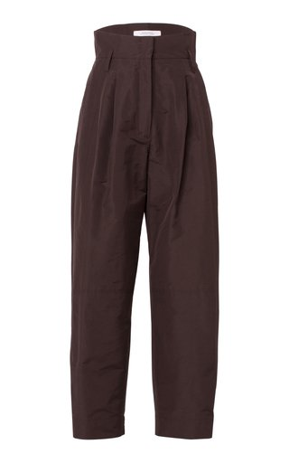 Taffeta Renewal Pleated Cotton-Blend Trousers