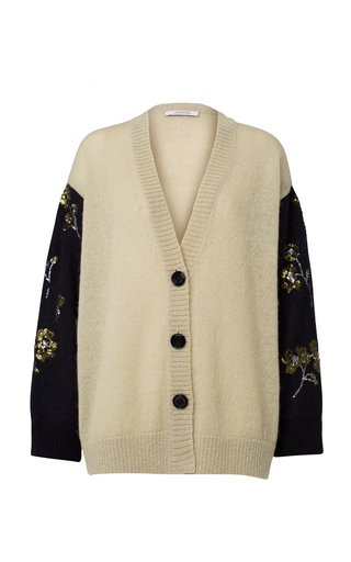 Fluffy Floral Oversized Embellished Wool-Blend Cardigan