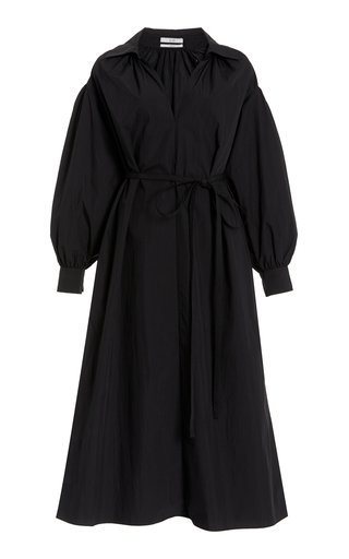 Belted Cotton-Blend Midi Shirt Dress