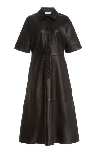 Short Sleeve Leather Shirt Dress