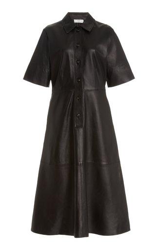 Short Sleeve Leather Shirt Dress