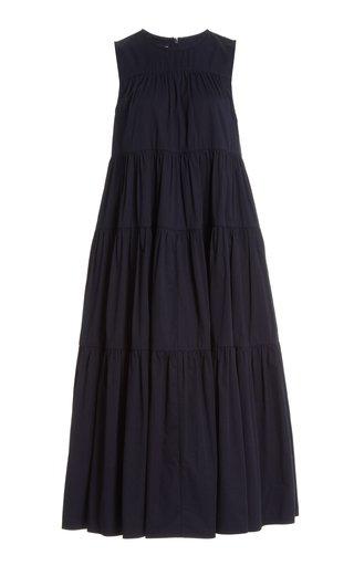 Tiered Cotton-Poplin Midi Dress